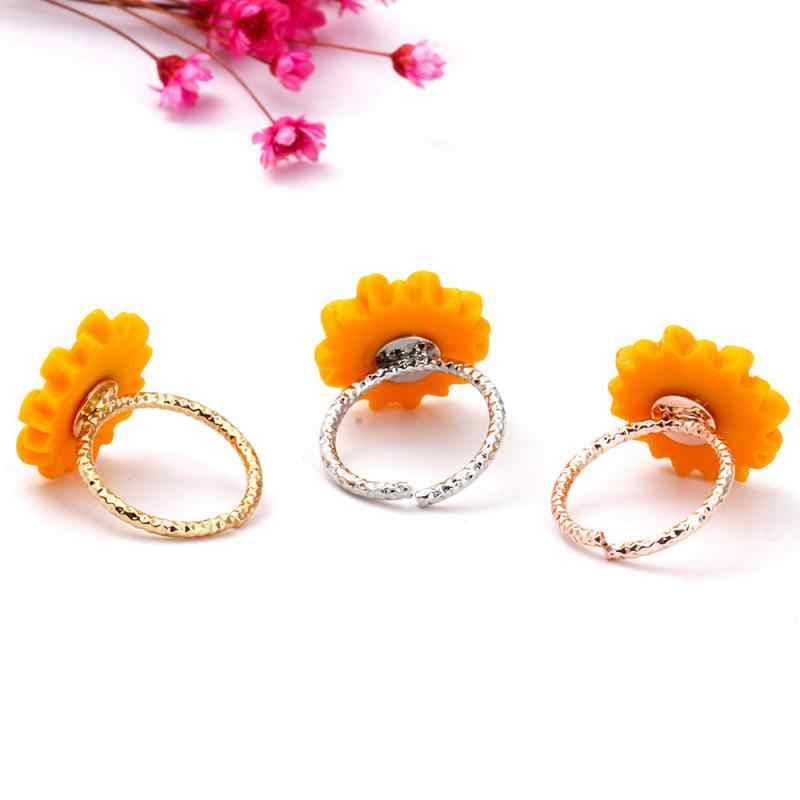 3 Colors 4PCS Woman Jewelry Sets  Gold Silver Rose Gold Color Sunflower Necklace / Ear Stud / Ring / Bracelet  Valentine Gifts