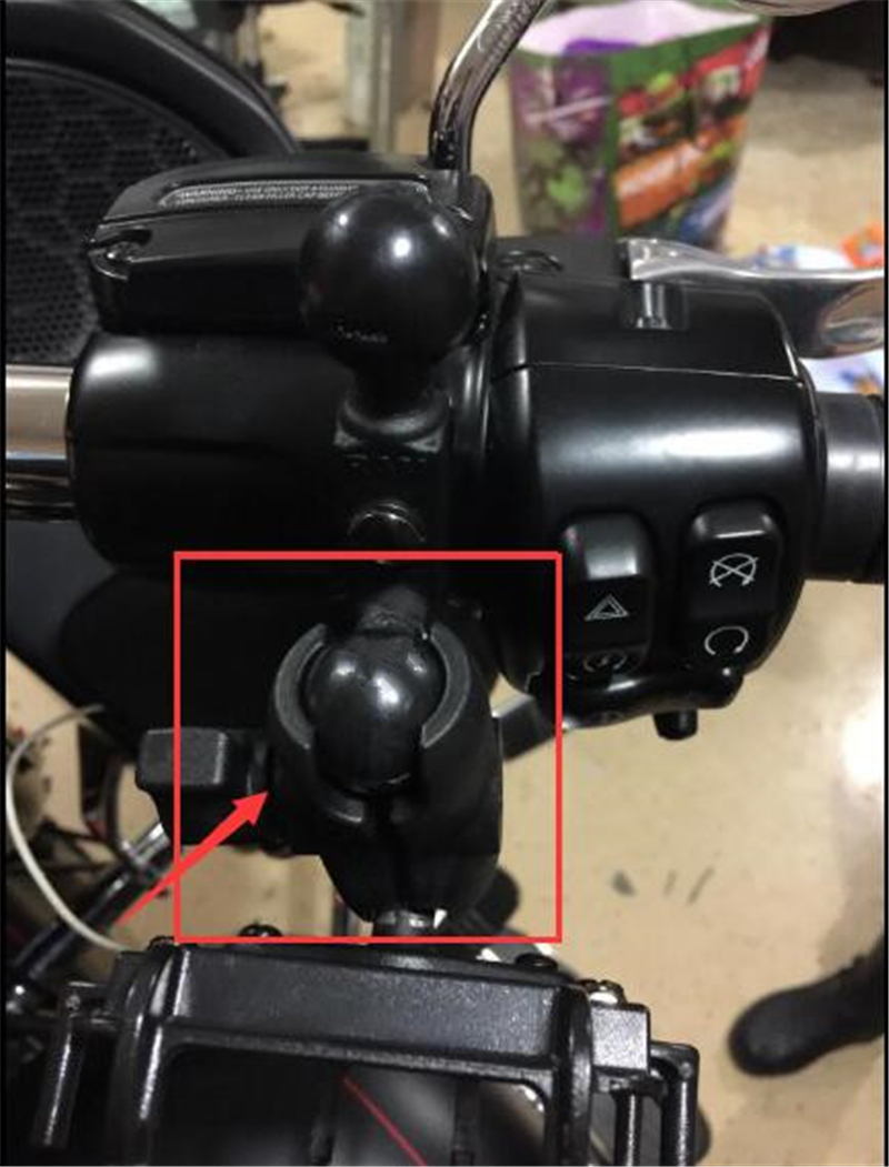 "Motocicleta bicicleta ATV 9mm agujero y 1 ""Bases de bolas + brazo de doble toma corto compuesto"