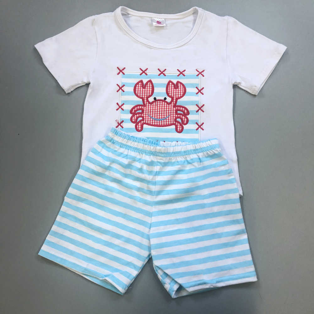 03639807b61e Baby Boy Clothing Set Factory Wholesale Price New Design Toddler Fish  Embroidery Shorts Baby Remake Summer