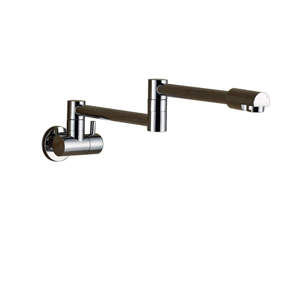 Pot Filler Double Joint Spout Folding Stretchable Swing Arm Wall Brass Kitchen Faucet Single Hole Two