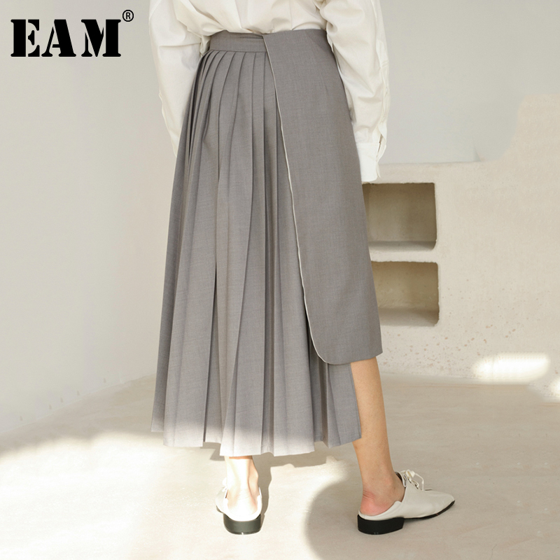 [EAM] 2020 New Spring Summer High Waist Black Dot Printed Pleated Split Joint Irregular Half-body Skirt Women Fashion Tide JR440