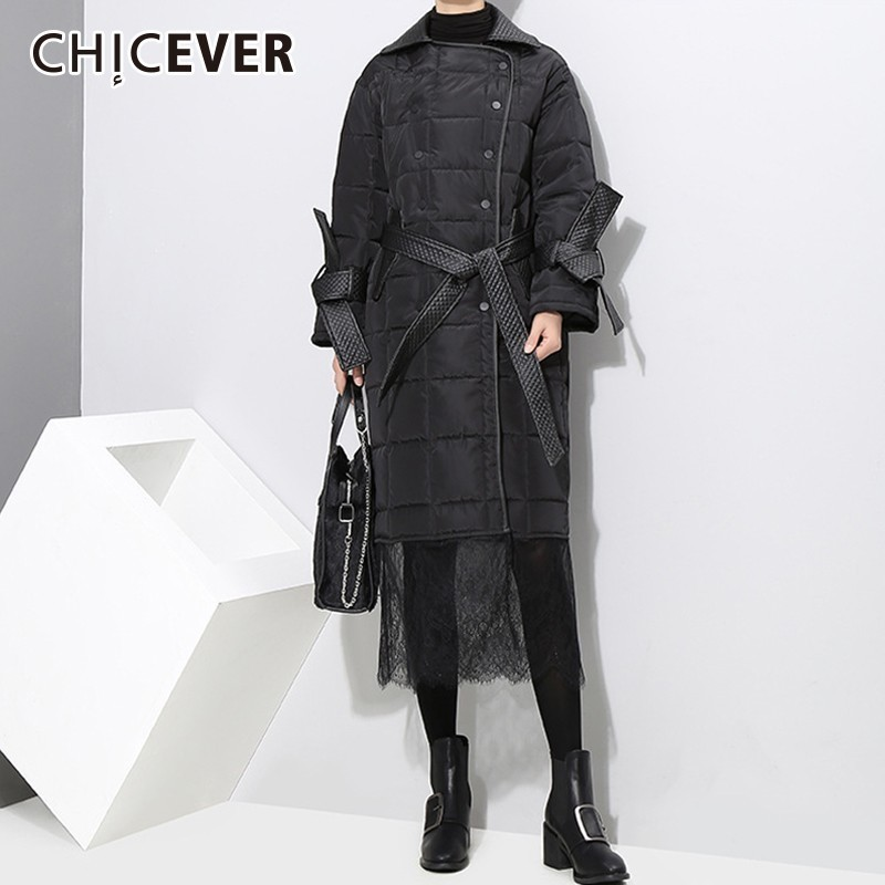 CHICEVER Patchwork Lace Women's Winter   Parka   Jackets Single Breasted High Waist Bandage Hollow Out Jacket Female Fashion Clothes