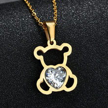 Bear Crystal Pendant Necklace Women Jewelry Silver Choker Necklaces Women Stainless Steel Necklaces Female Chain Collar Necklace(China)