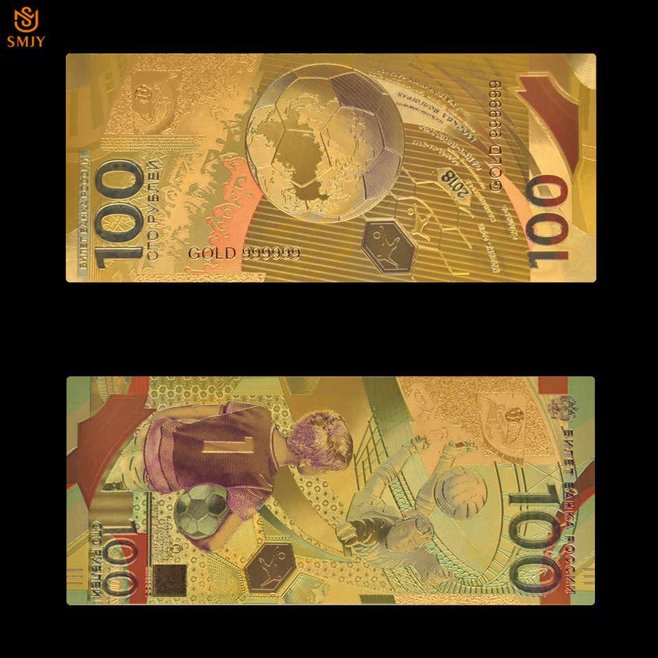 Nice colorido rússia copa do mundo de futebol conjunto de notas de ouro 9 peças conjunto completo cópia moeda original rublo dinheiro coleção papel
