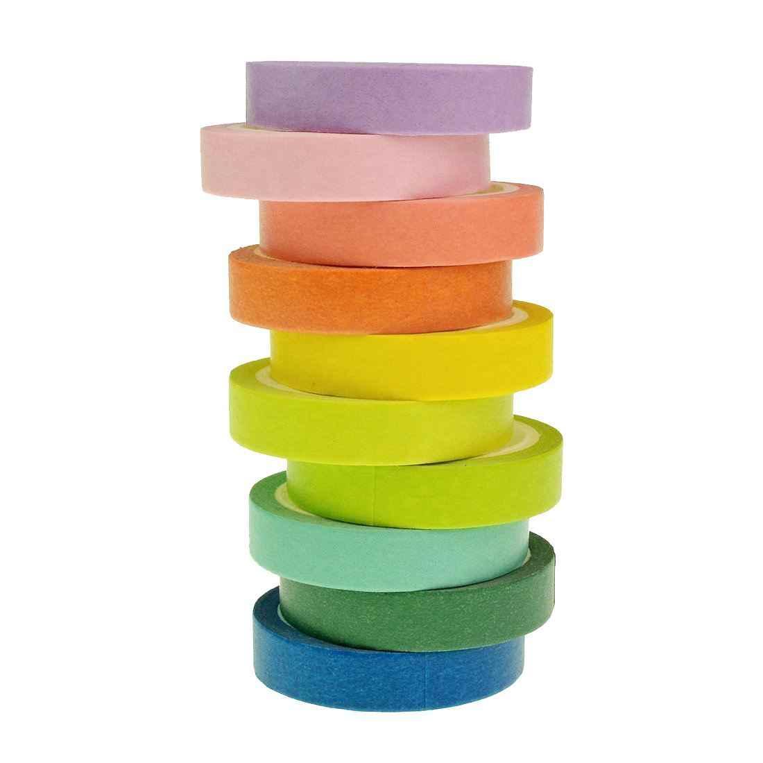 AAAJ-лента набор 10x декоративная Радужная липкая бумага Маскировочная Клейкая Лента Скрапбукинг DIY