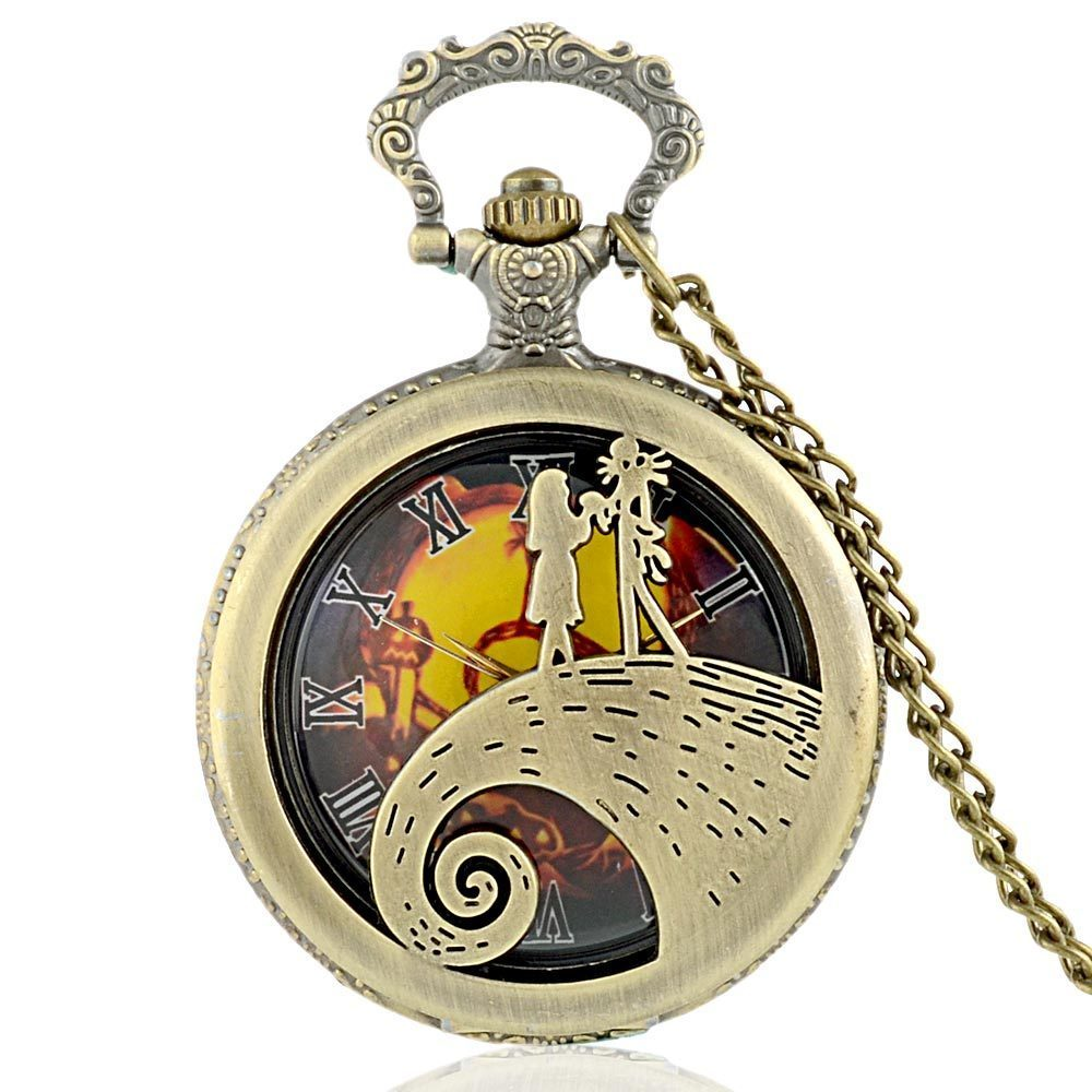 IBEINA Alice Theme Full Hunter Quartz Engraved Fob Retro Pendant Pocket Watch Chain Gift Punk Vintage Style