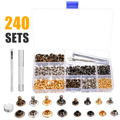 240 Sets Leather Repairing Double Cap Rivets Craft Snaps Fastener Button Press Studs Rivets with Fixing Tools for DIY Craft