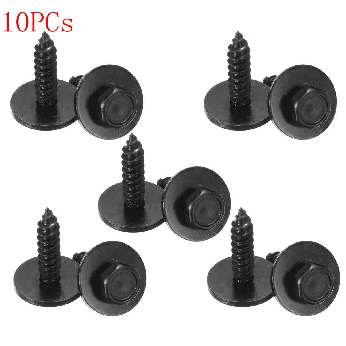 10x Black Tapper Screw Self Tapper Screw and Washer for Bumpers Engine Shields Splash Guard