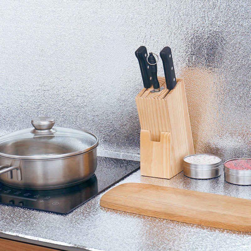 Kitchen Self กาวกันน้ำกันน้ำสติ๊กเกอร์ผนังตารางอลูมิเนียมฟอยล์ครัวตู้ผนังสติกเกอร์ผนังตกแต่งตาราง