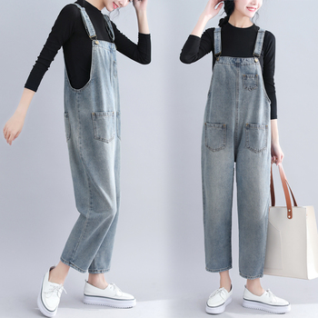 Qiukichonson Women Plus Size Jeans 2019 Spring Vintage Pockets Ripped Loose Overalls Ladies High Waist Casual Denim Jumpsuits