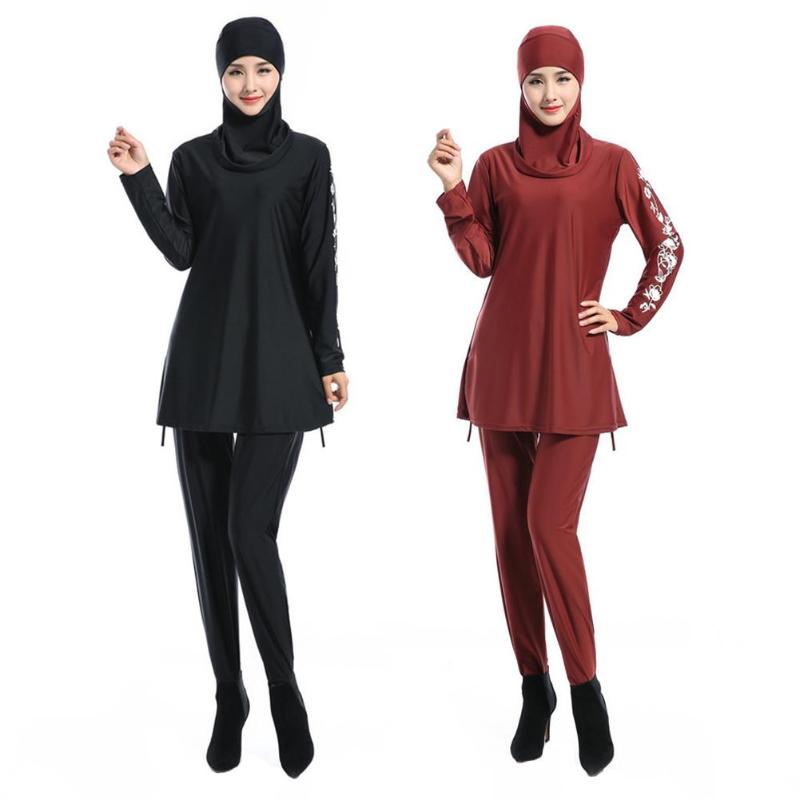 3pcs/set Muslim Women Swimwear Modest Floral Print Full Cover Quick Drying Swimsuit Islamic Arab Beachwear Bathing Suit 2019 New