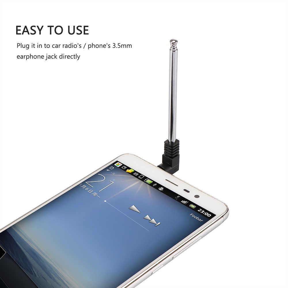Antena de Radio FM de 3,5mm aérea retráctil para teléfono móvil de coche