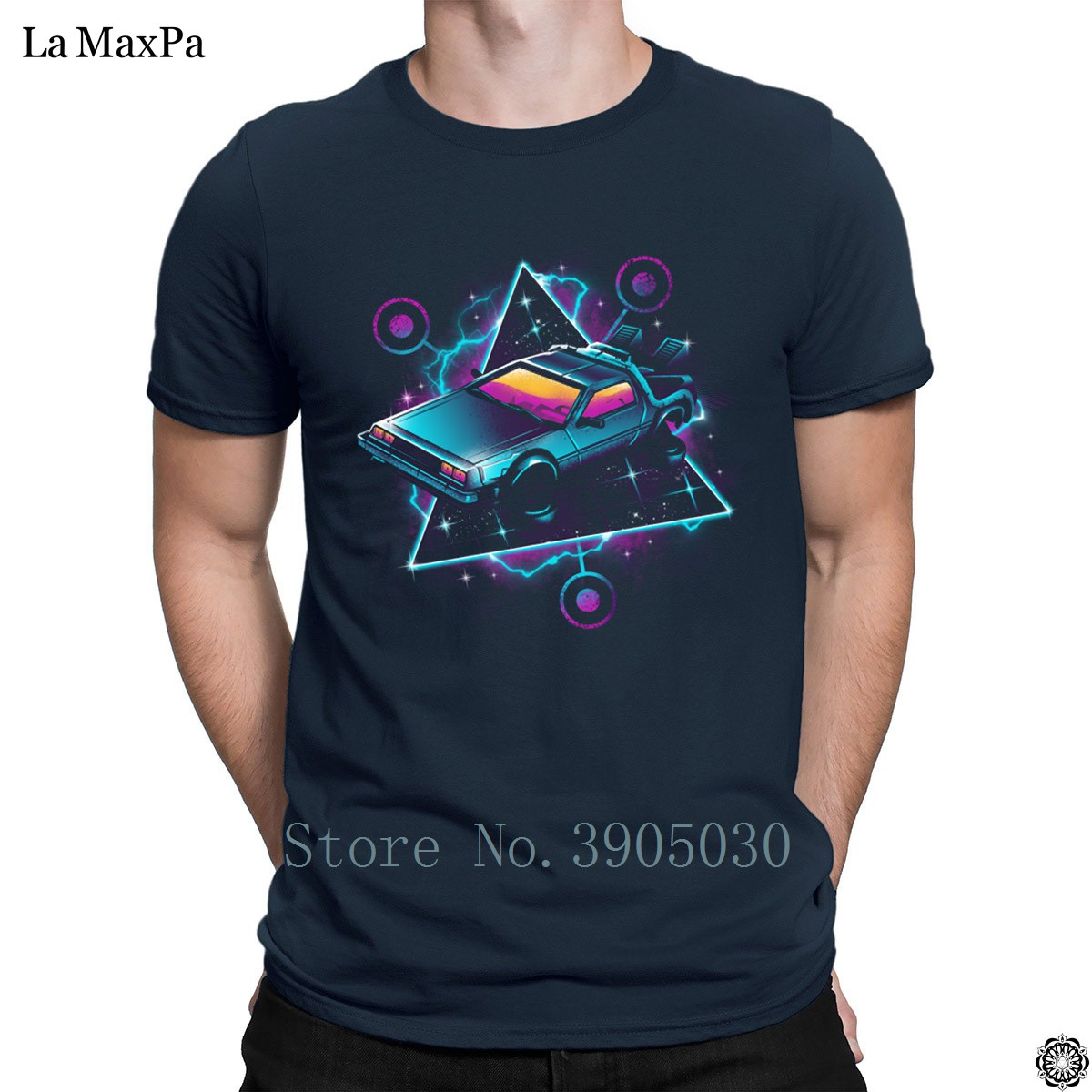 Breathable Solid Color T-Shirt Retro Wave Time Machine T Shirt For Mens Trendy Men's Tshirt Pictures Cotton Hiphop Tops