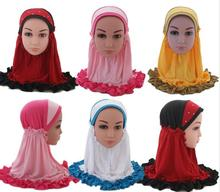 Kids Girls Muslim Caps Children Headwear Wrap Shawls Arab Underscarf Ruffle Hair Loss Prayer Hat Islamic Bonnet Turban Beanies