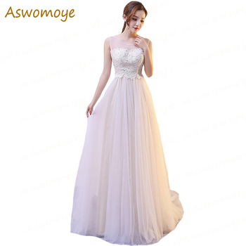 Female Evening Dresses 2019 New Banquet Elegant Formal Dresses Appliques Beaded Illusion O-neck Sexy Backless Sweep Train