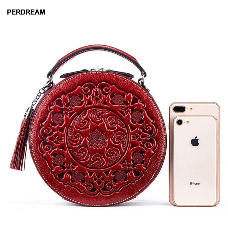 Saco de couro crossbody senhora pequenos sacos redondos retro estilo chinês saco do mensageiro portátil um ombro cilindro bolsa pele vaca - 3