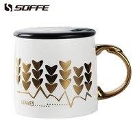 Soffe Creative Europe Bronzing Heart Travel Coffee Mug Ceramic Porcelain Coffee Tea Cup 375ml With Lid Milk Water Tumblers Gift