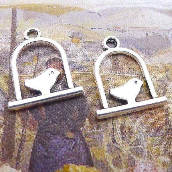 Lot 20pcs bird cage Antique Silver Charms Pendants For Earrings Bracelet 18*15mm
