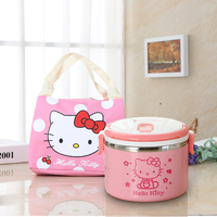 1L Stainless Steel Cutlery Set Students Cartoon Cute Bento Children Preservation and Heat Insulation Canvas Lunch Bag Totes