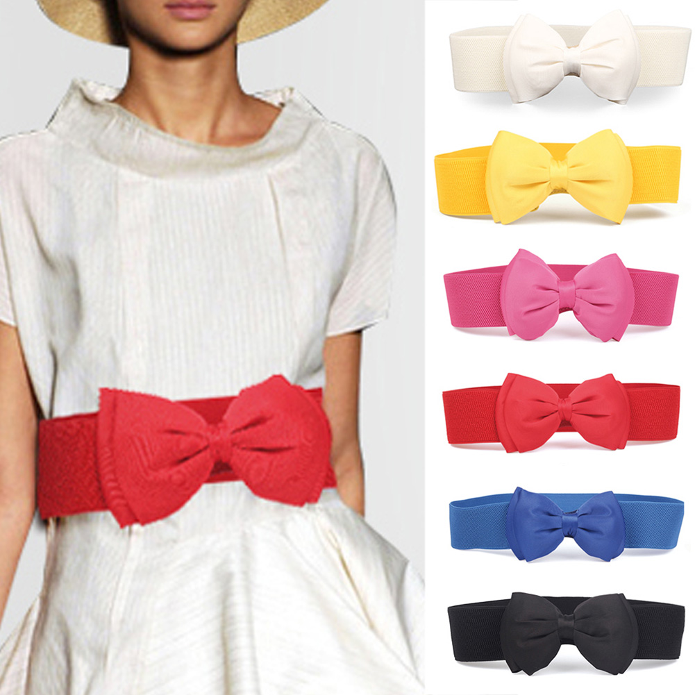 Hot Sale Elegant Sweet Big Bow Waistband Elastic Wide For Women Dress Stretch New Designer Belts Ladies Vintage Girls Cinch Belt