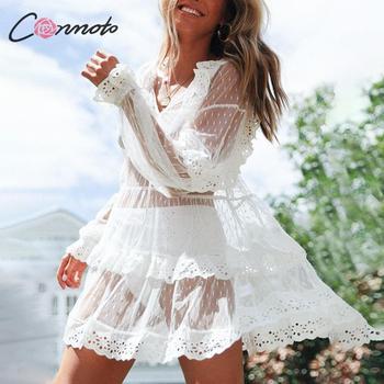 58c4139810 Conmoto transparente de malla de verano de 2019 vestido de las mujeres Sexy  de encaje Mini vestido Casual mujer Playa Club Vestidos