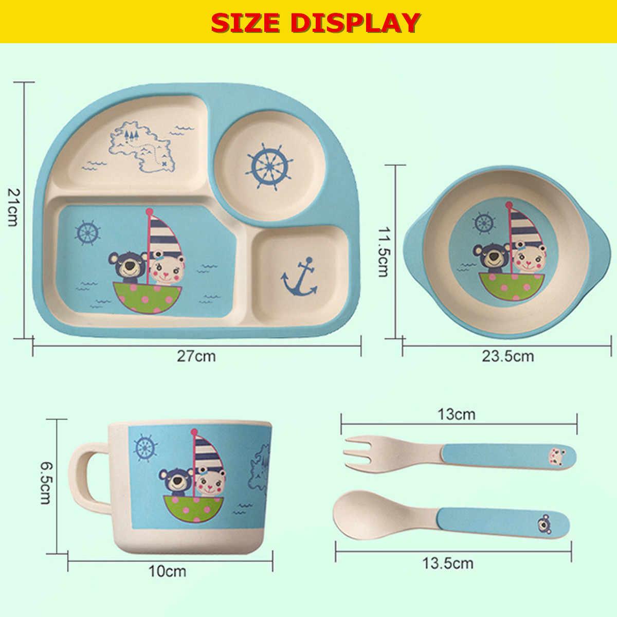 4 สี 5 ชิ้น/เซ็ต Baby Feeding ชามจานช้อนส้อมถ้วยเด็กไม้ไผ่เส้นใยการ์ตูนแยกแผ่นให้อาหาร