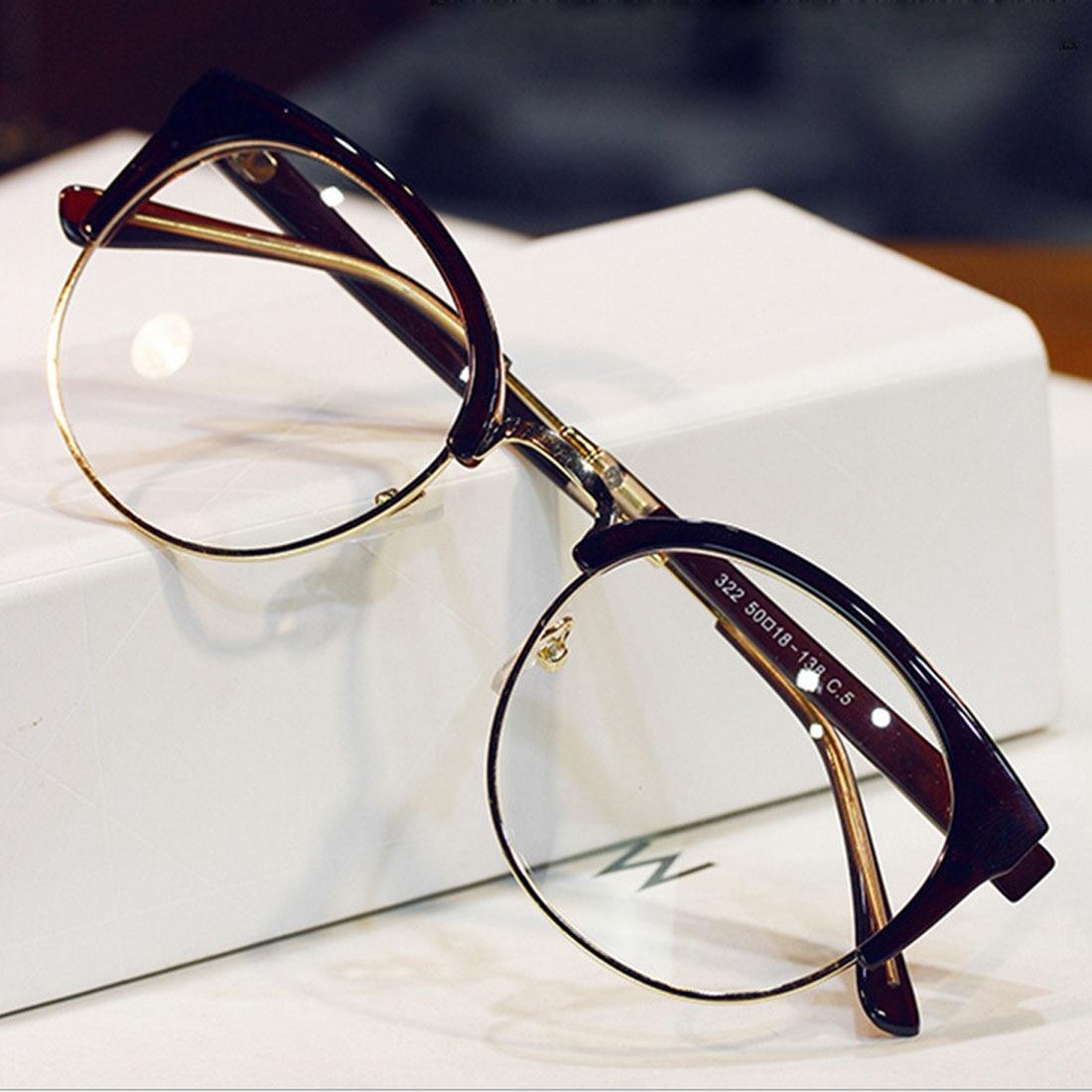 New Fashion Metal Half Frame Glasses Frame Woman Men Reading Glass Retro Clear Lens Computer Eyeglass Frame