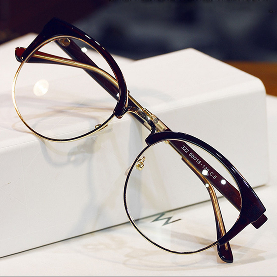 New Fashion Metal Half Frame Glasses Frame Woman Men Reading Glass Retro Clear Lens Computer Eyeglass Frame