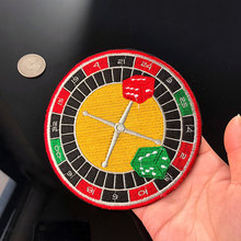 PGY Wheel of Fortune Gambling Embroidery Appliques Iron On Patches for Clothing Diy Colorful Disc Compass Badges Parches