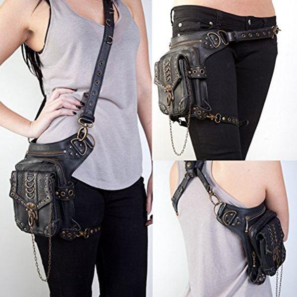 Steampunk Retro Motorcycle Bag Lady Bag Retro Rock Gothic Goth Shoulder Waist Bags Packs 1