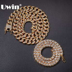 Image 1 - UWIN 2 Necklaces Fashion Hiphop Jewelry 13mm Cuban Link Chain With 5mm Iced Out Rhinestones Tennis Chains Gold Color Necklace