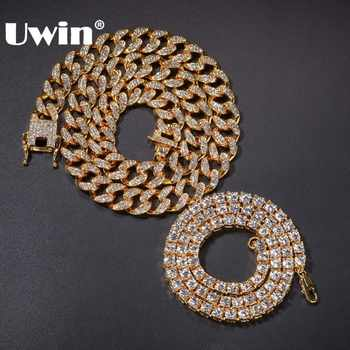 UWIN 2 Necklaces Fashion Hiphop Jewelry 13mm Cuban Link Chain With 5mm Iced Out Rhinestones Tennis Chains Gold Color Necklace - DISCOUNT ITEM  40% OFF All Category