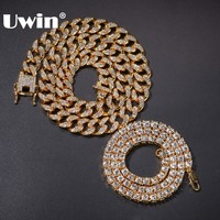 UWIN 2 Necklaces Fashion Hiphop Jewelry 13mm Cuban Link Chain With 5mm Iced Out Rhinestones Tennis Chains Gold Color Necklace