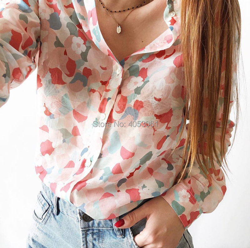 High-end Silk & Cotton Multi-color Printed Blouse Top - Bopstyle New Lapel Women 2019 Summer Stylish Long Sleeves Blouse Shirt Top