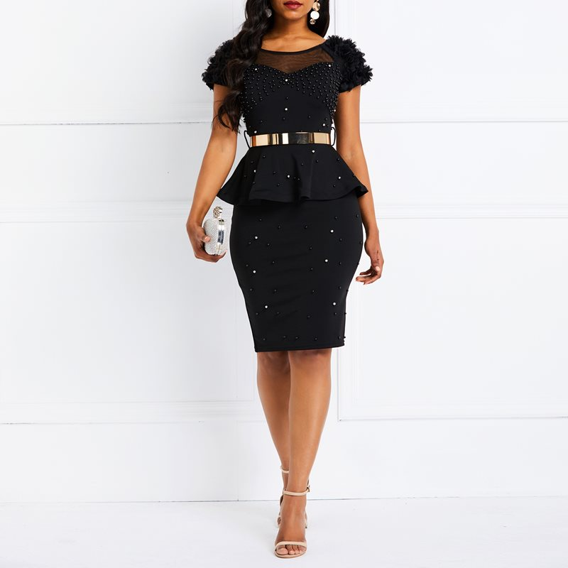 Bodycon Dress Women Ruffles Beading Black Elegant Party Stylish Solid Pink Summer Casual Evening Female Club Wear Sexy Dresses