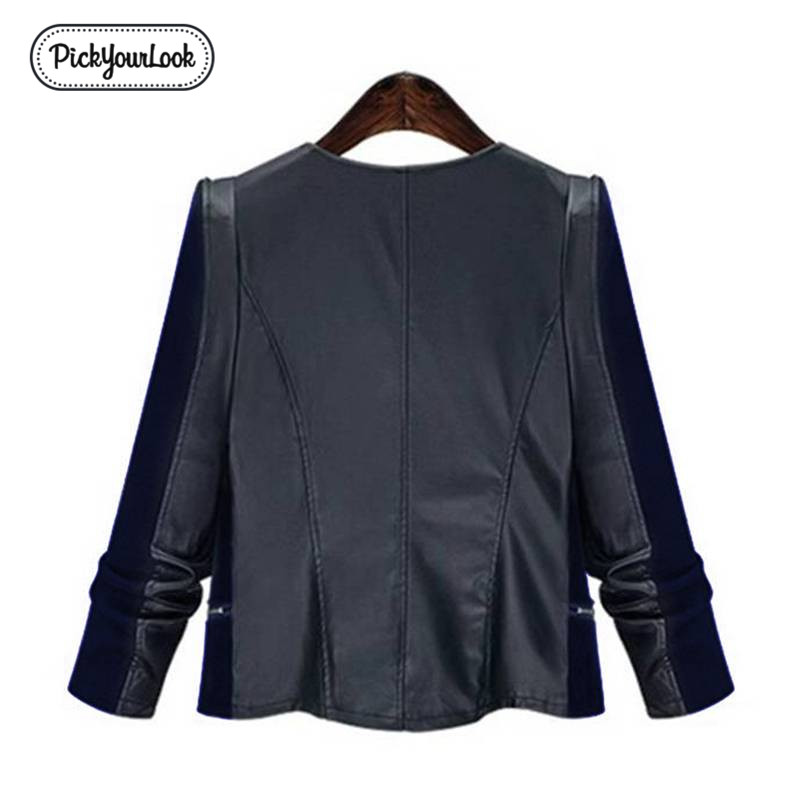 Pickyourlook Pu Leather Women Coat Jacket Plus Size Patchwork Motorcycle Overcoat For Female Fashion Zipper Large Lady Outerwear in Jackets from Women 39 s Clothing