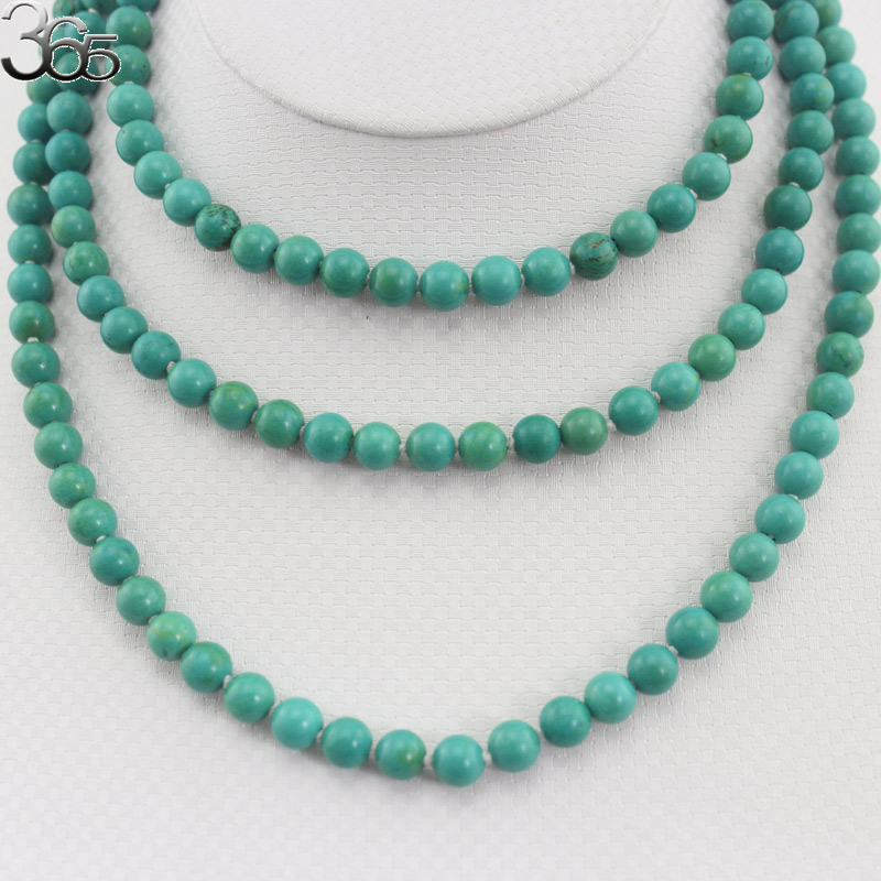 Free Ship Gift Packed 54inch 8mm  Green Stone Gems Stone Long Necklace Yoga For Women Bohemian Necklace