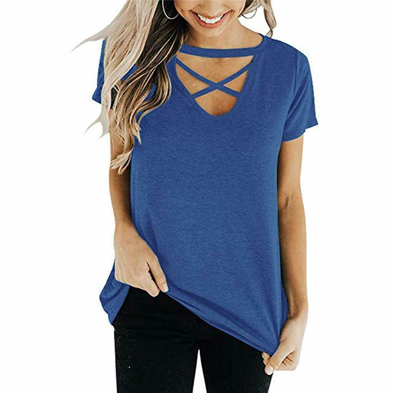 Womens Casual Short Sleeve Top T-Shirt Front Chest Cross O-neck