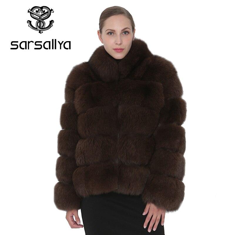 SARSALLYA натуральным лисьим мехом пальто Для женщин натуральный мех CoatsJackets жилет норки Зимнее пальто с лисьим мехом верхняя одежда