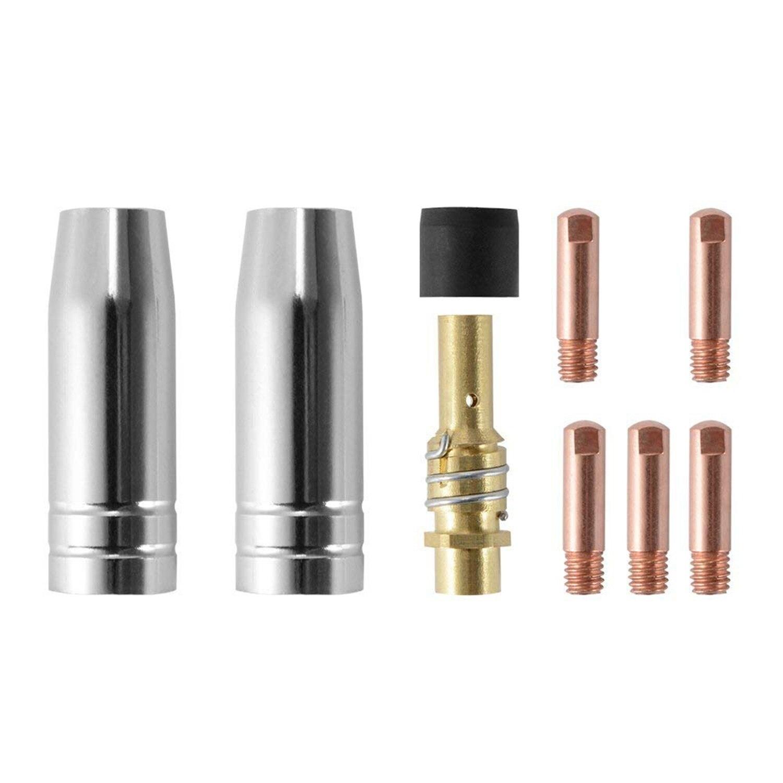 9 sztuk/zestaw 15Ak Mig/Mag dysza spawalnicza styki, 0.8X25 Mm, M6 złącze gazu zestaw świeczników Ad068 +