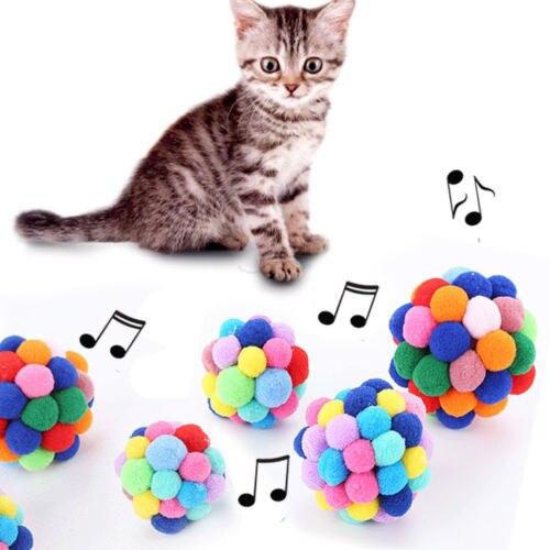 1 Stks Pull Kleine Kat Speelgoed Ballen Met Bell Regenboog Antenne Ballen Kitten Chase Toy Kleurrijke En Zachte Voor Huisdier Speelgoed Pure Witheid