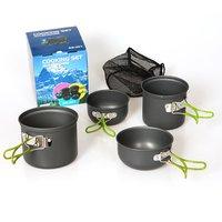 DS-201 походная посуда Компактная прочная походная кастрюля и сковородки набор для двух или трех человек