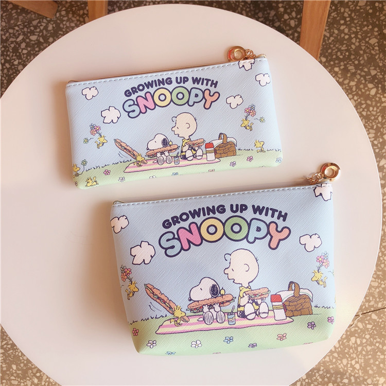 SIXONE Cartoon Peanut Rogue Dog Creative Stationery Pen Bag Pencil Case Kawaii Receiving Cosmetic Bag Student Stationery Goods