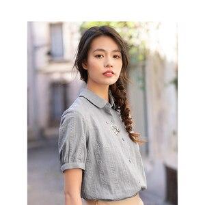 Image 3 - Inman verão turn down collar bordado literário retro tudo combinado casual magro manga curta camisa feminina