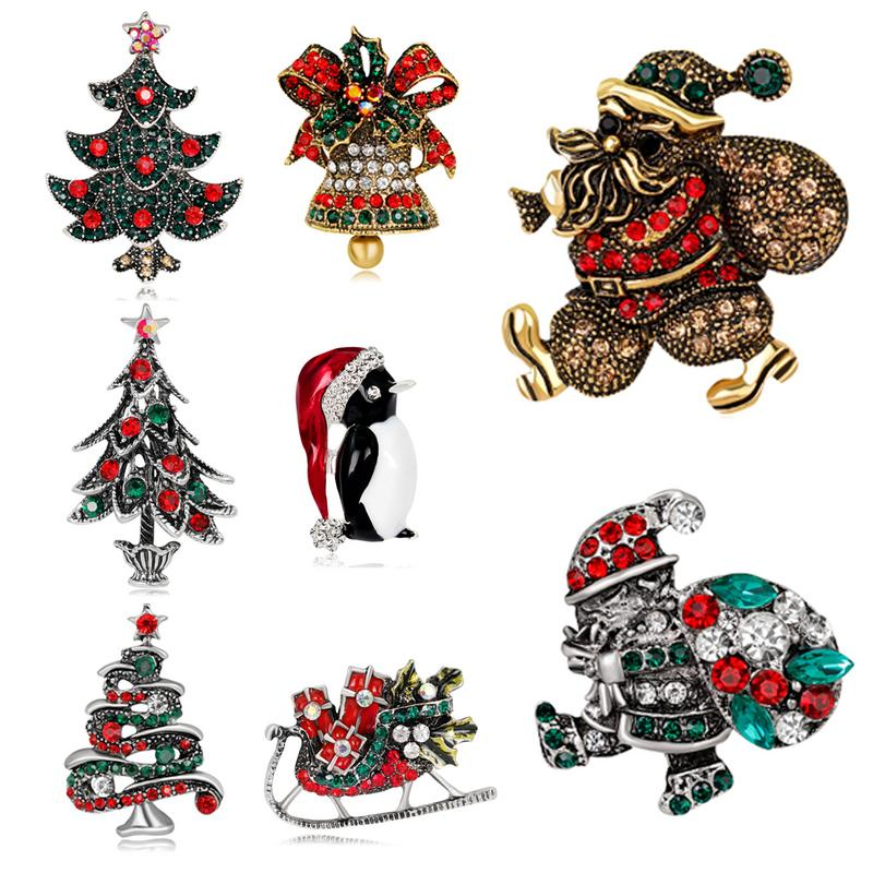 Christmas Breastpin Decorations for Men And Women with A Variety of Style Christmas Brooch Christmas Tree Stocking Pattern
