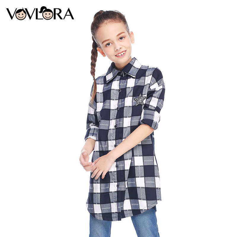 Girls shirts long sleeve button cotton turn-down Collar letter plaid shirts for kids girls autumn clothes size 9 10 11 12 13 14Y slim fit turn down collar colored plaid lining solid color shirt for men