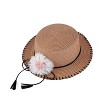 1pcs Beautiful Elegant Decor Sun Cap Straw Sun Hat for Outdoor Kid Child Travel Girl for Trips Hiking Outside(China)