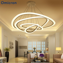 Omicron White Golden Modern Pendant Lights For Living Room Dining 2/3/4/5 Circle Rings Metal Body Led Lamp