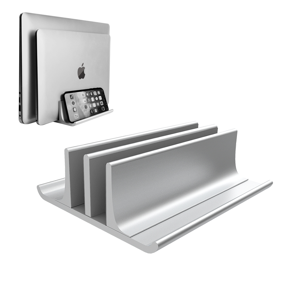 Adjustable Metal Vertical Laptop Stand Newly Designed 2 Slot Aluminum Desktop Dual Holder Up to 17.3 Inches - Silver