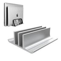 Suporte de computador portátil vertical de metal ajustável recentemente projetado 2 slot de alumínio desktop dupla titular até 17.3 polegadas prata|Suporte p/ laptop| |  -
